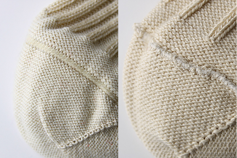 つま先のリンキング縫製