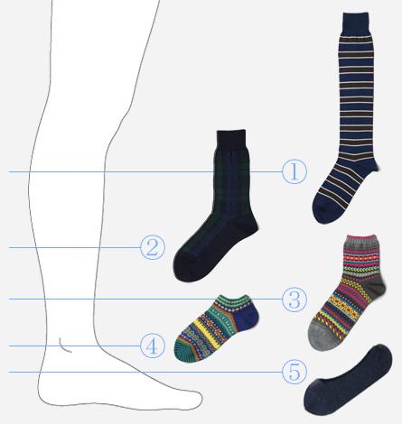 靴下の丈イラスト&写真
